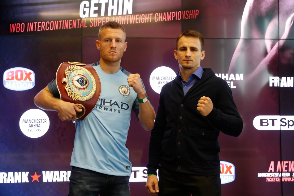 Terry Flanagan and Petr Petrov pose after the press conference