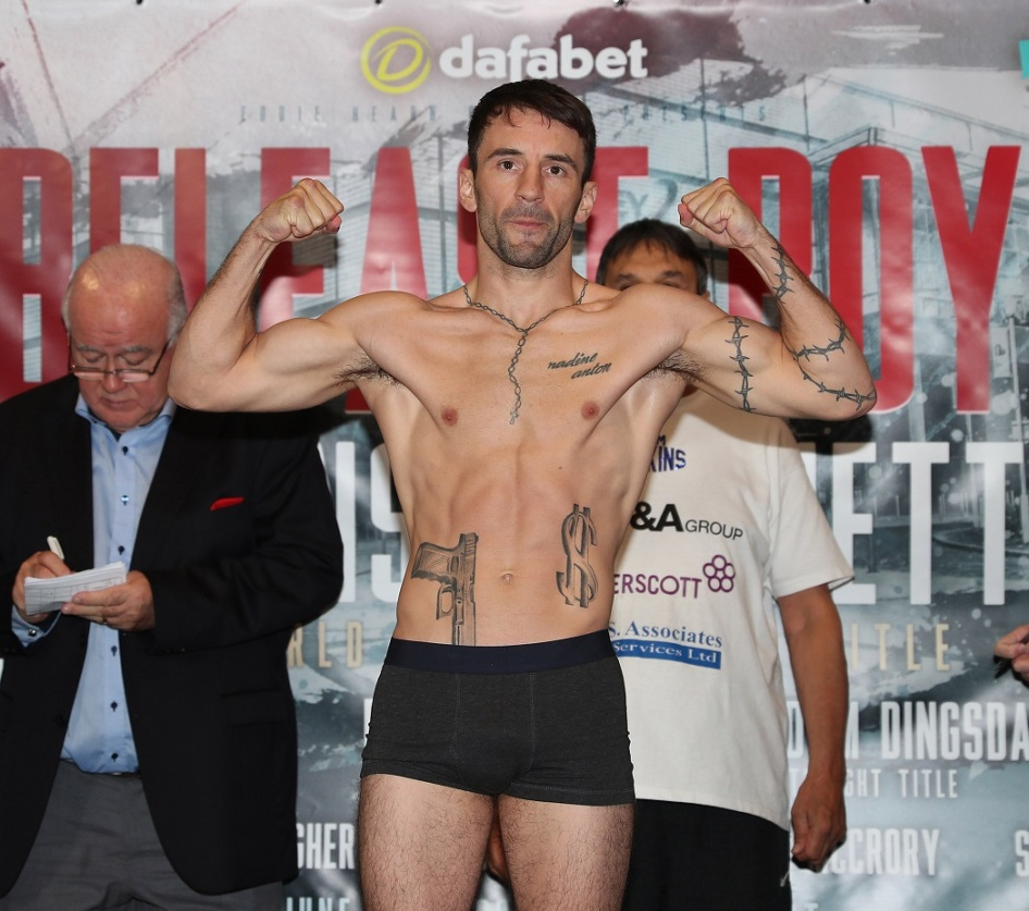 BELFAST BOY PROMOTION WEIGH IN HILTON HOTEL,BELFAST PIC;LAWRENCE LUSTIG IBF BANTAMWEIGHT TITLE CHAMPION LEE HASKINS AND CHALLENGER RYAN BURNETT WEIGH IN FOR THEIR CLASH ON EDDIE HEARNS PROMOTION AT BELFASTS SSE ARENA ON SATURDAY(10-6-17)