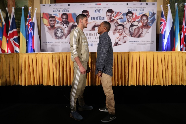 MONTE-CARLO BOXING BONANZA PROMOTION PRIESS CONFERENCE, CASINO DE MONTE CARLO, MONACO. PIC;LAWRENCE LUSTIG WBA BANTAMWEIGHT TITLE CHAMPION JAMIE McDONNELL AND CHALLENGER LIBORIO SOLIS COME FACE TO FACE BEFORE THEY CLASH AT MONTE CARLOS WORLD FAMOUS CASINO ON SATURDAY(4-11-17) ON EDDIE HEARNS MATCHROOM PROMOTION