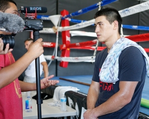 Photos of Dmiry Bivol during a media workout at Legendz Boxing Gym in Norwalk, CA on July 24, 2018.
