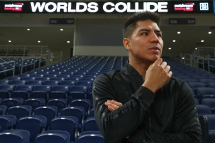 August 8, 2018; Chicago, IL, USA; Jesse Vargas looks around the Wintrust Arena before the start of the press conference announcing his 12 round welterweight bout against Thomas Dulorme. The two will meet in the main event of the October 6, 2018 Matchroom Boxing USA card at the Wintrust Arena in Chicago, IL. Mandatory Credit: Ed Mulholland/Matchroom Boxing USA