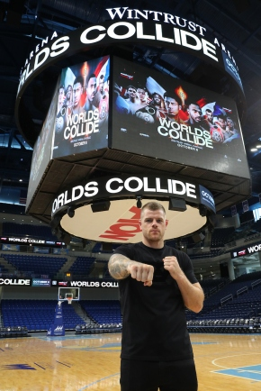 August 8, 2018; Chicago, IL, USA; Callum Johnson looks around the Wintrust Arena before the start of the press conference announcing his 12 round light heavyweight championship bout against Artur Beterbiev. The two will meet on the October 6, 2018 Matchroom Boxing USA card at the Wintrust Arena in Chicago, IL. Mandatory Credit: Ed Mulholland/Matchroom Boxing USA